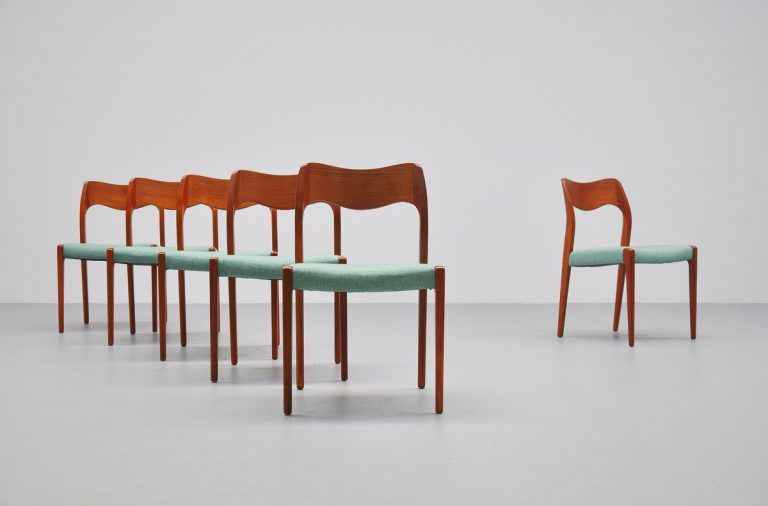 Niels Moller chairs Model 71 in teak Denmark 1951