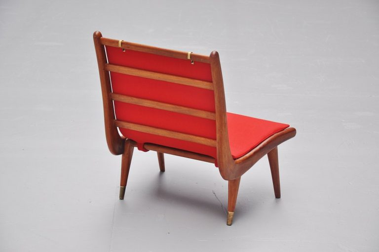 Low Italian lounge chair with brass leggs 1950