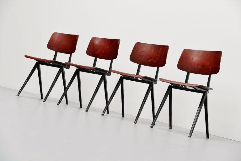 Galvanitas industrial chairs set of 4 Holland 1970