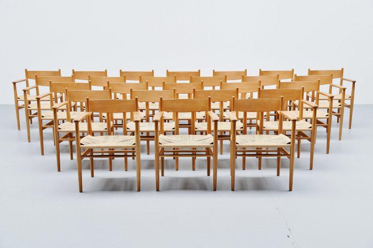 Hans J Wegner CH37 arm chairs Carl Hansen Denmark 1962