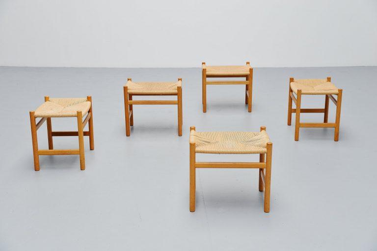 Hans J Wegner CH53 stools Carl Hansen Denmark 1966