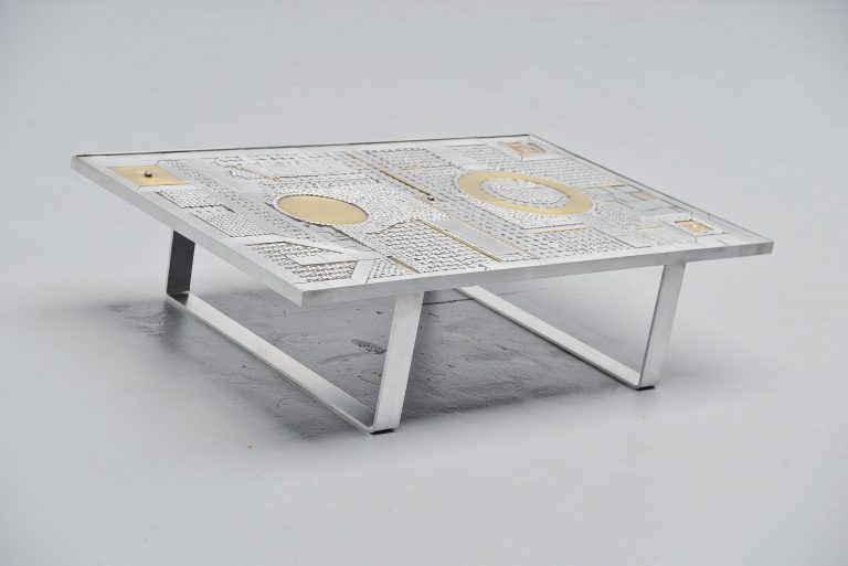 Raf Verjans coffee table in Aluminum Belgium 1970