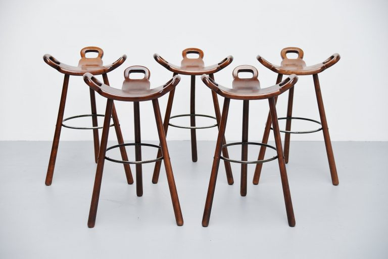 Carl Malmsten bar stools 5x attributed Sweden 1950