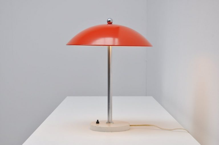 Wim Rietveld Gispen mushroom table lamp red 1950