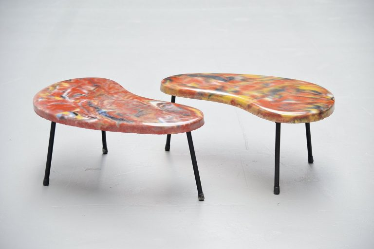 Pair of kidney shaped tables France 1960