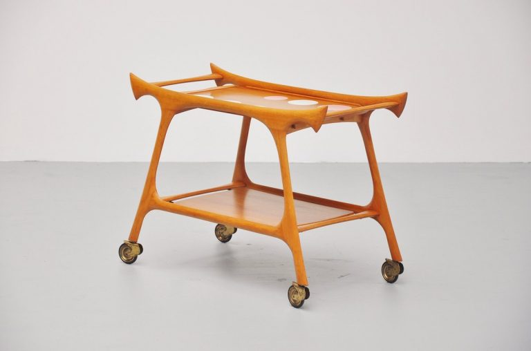 Italian walnut tea cart with round ceramic tiles 1950