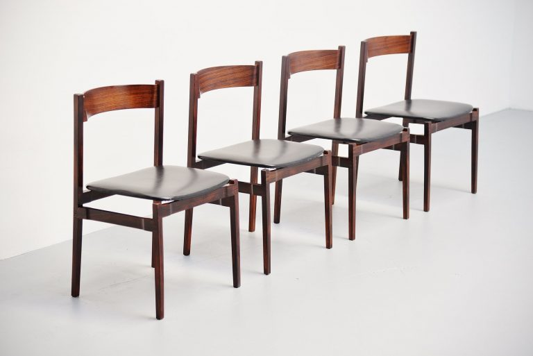 Gianfranco Frattini rosewood chairs model 104 Cassina 1960