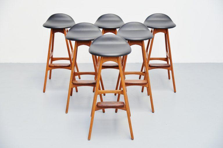 Erik Buck teak bar stools Odense Mobler Denmark 1965