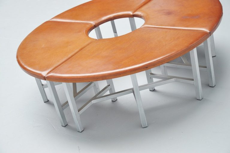 Very nice industrial round seating bench 1970