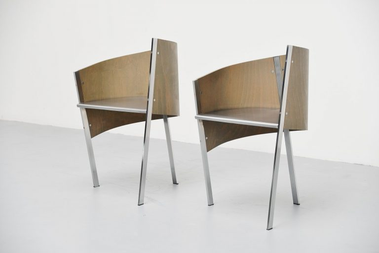 Paolo Pallucco pair of side chairs Italy 1987