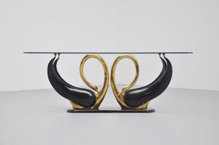 Elegant bronze swan shaped coffee table France 1970