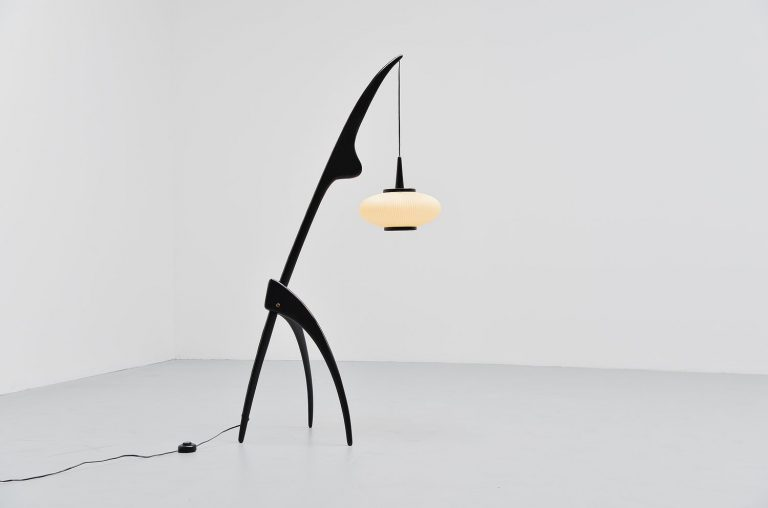 Rispal praying mantis floor lamp France 1952