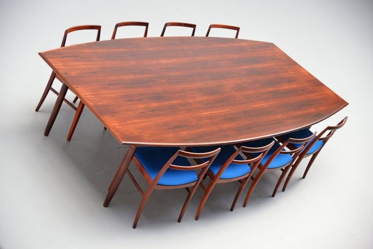 Danish rosewood conference table attributed to Arne Vodder 1960