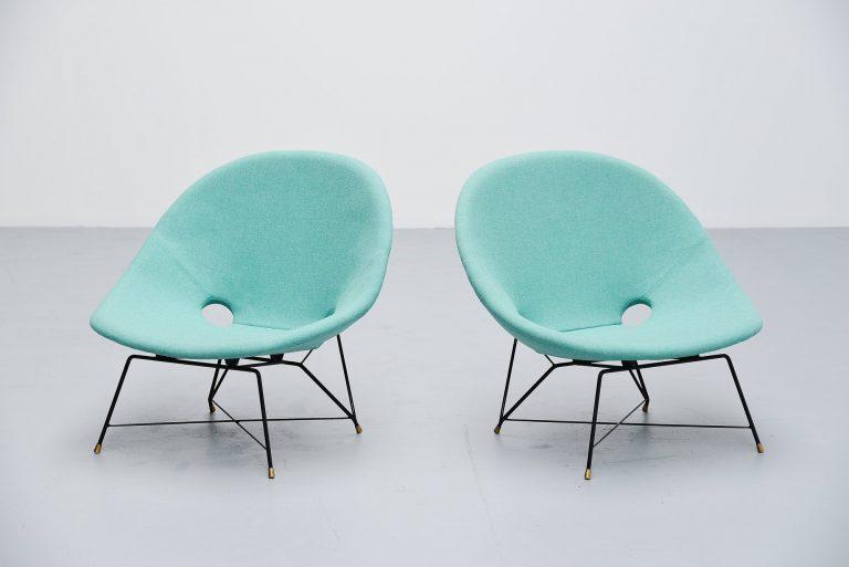 Augusto Bozzi cosmos lounge chairs Saporiti Italia 1954