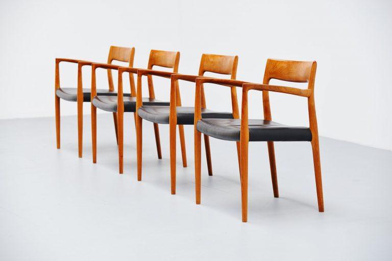 Niels Moller teak armchairs Model 57 Denmark 1959