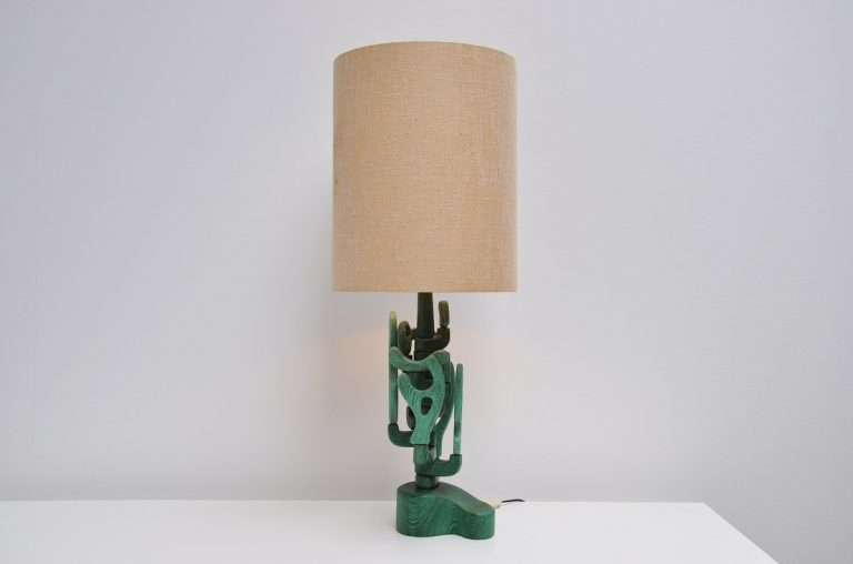 Spectacular brutalist table lamp Italy 1970