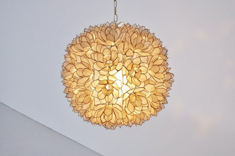 Mother of pearl pendant lamp Belgium 1970