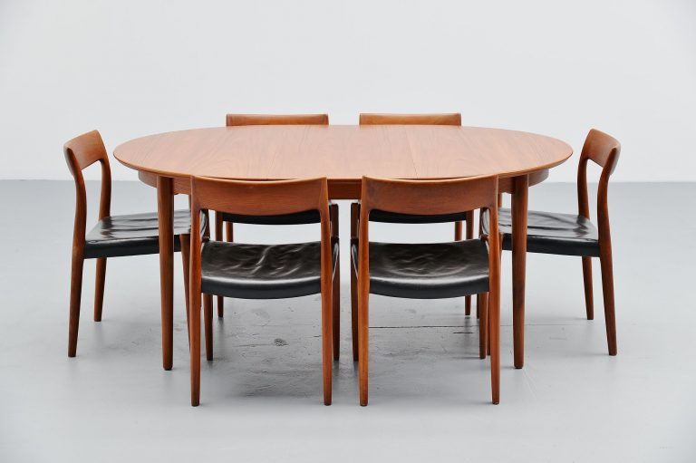 Arne Vodder oval dining table in teak Denmark 1955