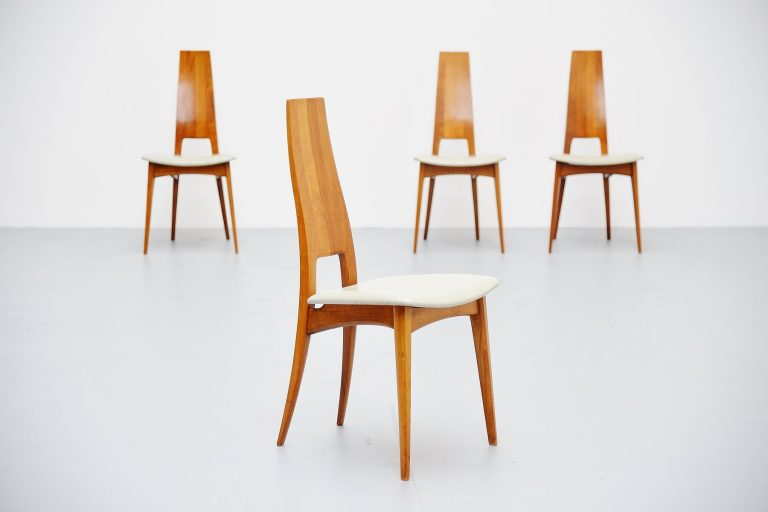 Carlo Mollino style dinner chairs Italy 1950