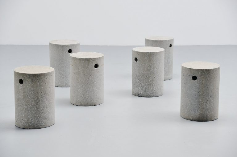 Modernist garden stools in granite Belgium 1960