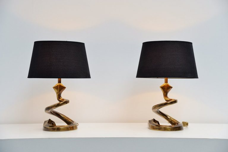 Very nice bronze table lamps in the manner of Pierre Cardin 1970
