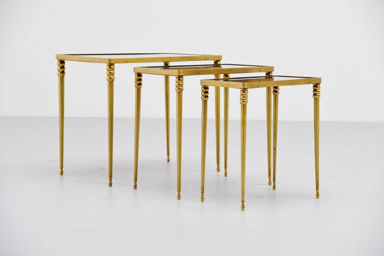 Chiavari brass nesting tables Italy 1950