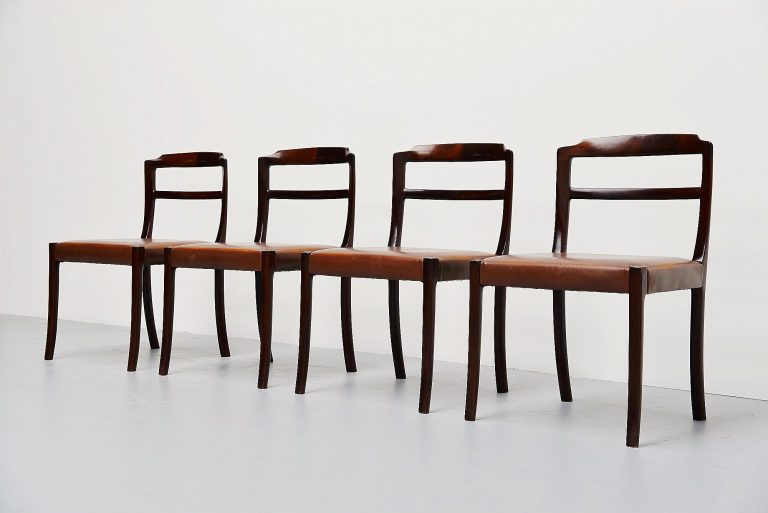 Ole Wanscher mahogany dining chairs AJ Iversen Denmark 1965