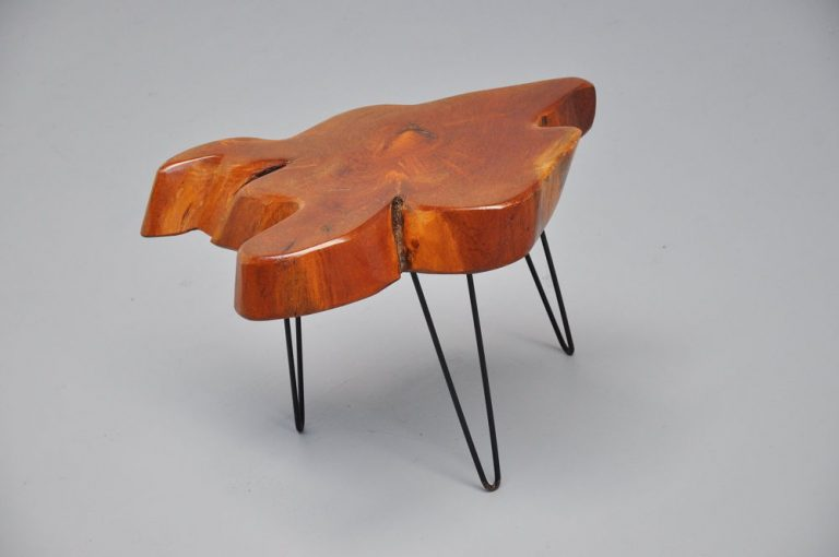 Tree trunk side table with hairpin leggs 1950