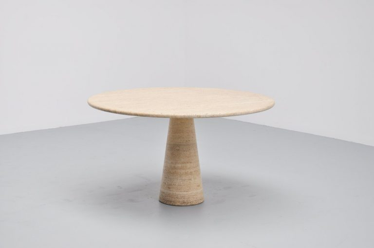 Angelo Mangiarotti attributed dining table in travertine Italy 1970