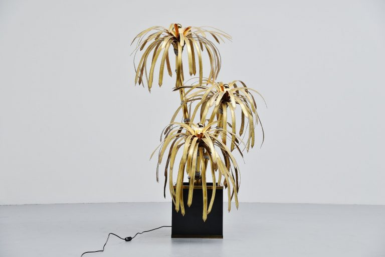 Maison Jansen palm tree brass floor lamp France 1970
