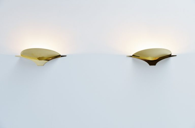 Florian Schulz brass wall lamps pair Germany 1980