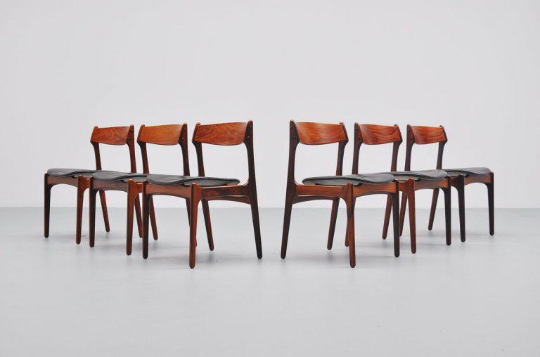 Erik Buck rosewood dining chairs O.D. Møbler 1957