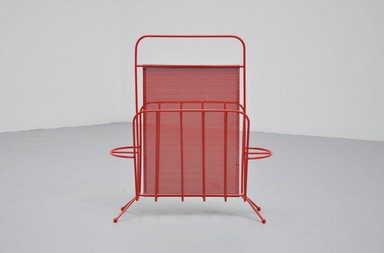 Red Mathieu Mategot magazine stand Artimeta 1960