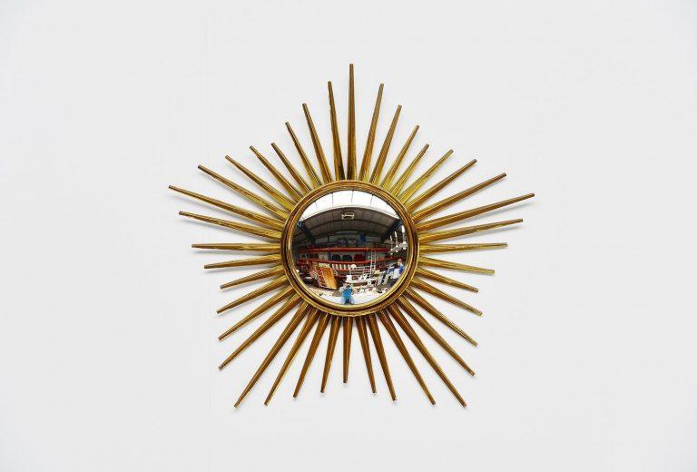 Brass sunburst mirror Italy 1950