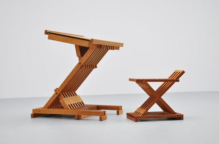 Dutch architectural table in solid pine 1960