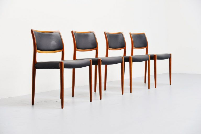 Niels Moller model 80 dining chairs 1968