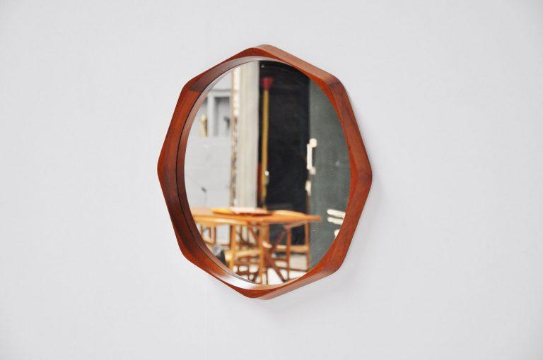 Rimbert Sandholdt organic teak mirror Denmark 1960