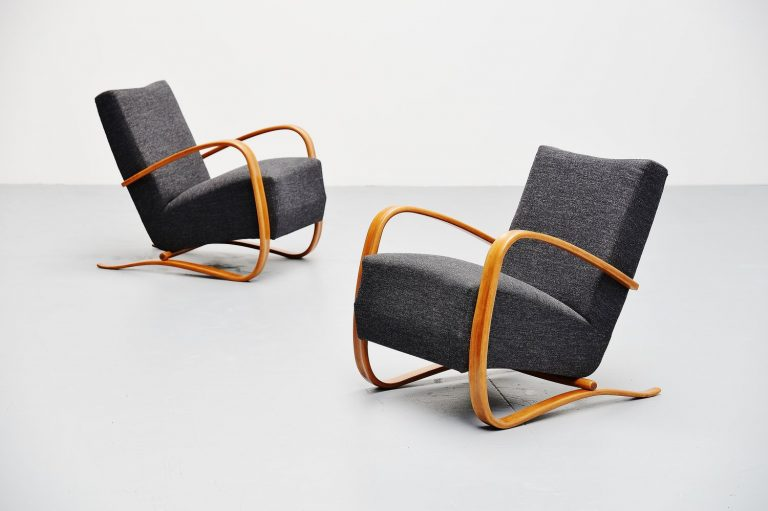 Jindrich Halabala Art Deco lounge chairs Czech Republic 1930