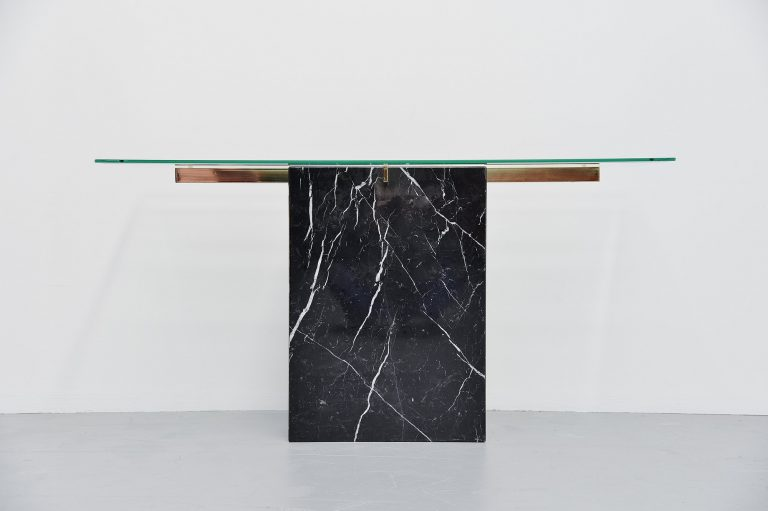 Artedi console table in black marble Italy 1970