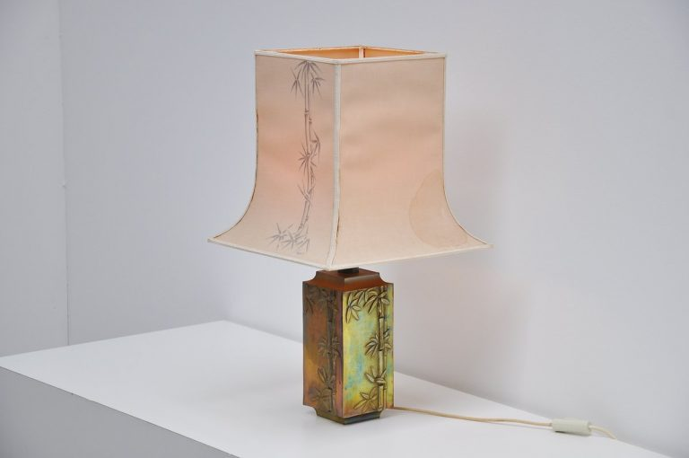 Pragos brass table lamp with bamboo leaves France 1970