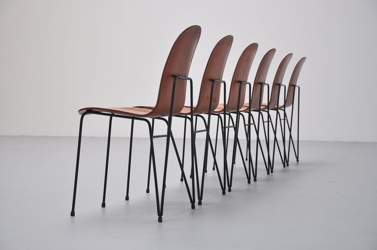 Enzo Strada Plywood Dinner Chairs Made In Italy 1950