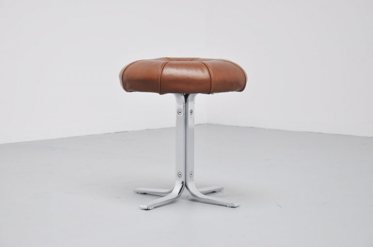 Danish stool in chrome and leather 1960