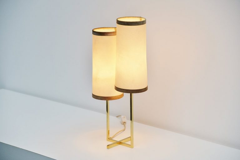 Jacques Adnet attributed table lamp in brass, France 1950
