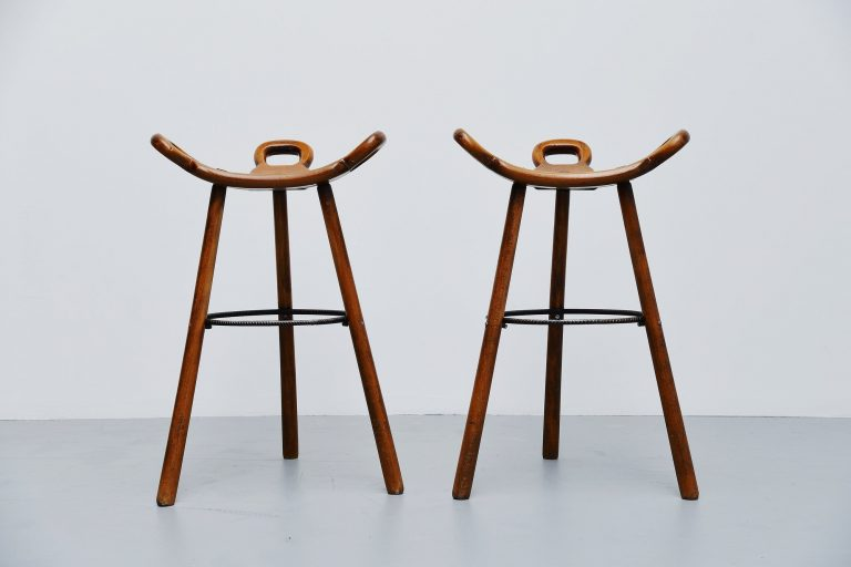 Carl Malmsten bar stools attributed Sweden 1950