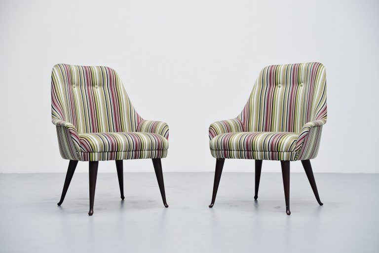 Carlo de Carli cocktail chairs Paul Smith fabric Italy 1950