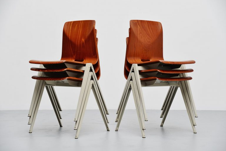 Pagholz S22 stacking chairs 6 pieces Germany 1965