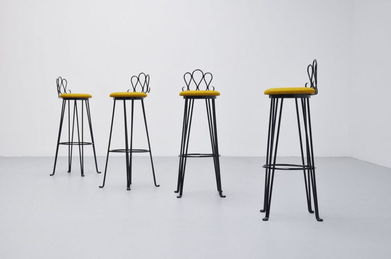 French wrought iron bar stools 1960