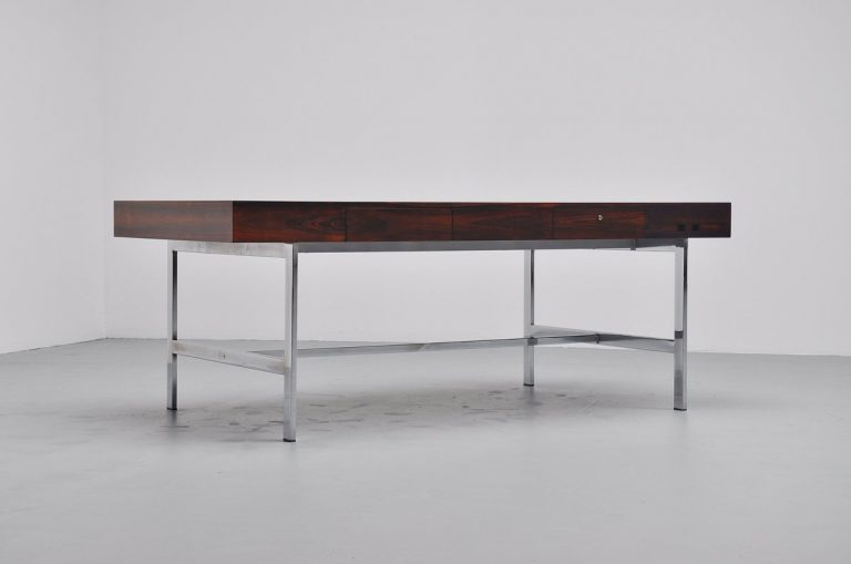 Rosewood conference desk in the manner of Bodil Kjaer Denmark 1970