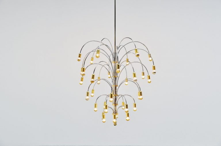 Extra large chandelier in chrome and brass Italy 1970
