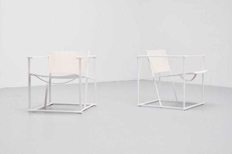 Radboud van Beekum FM61 white cubic chairs Pastoe 1980